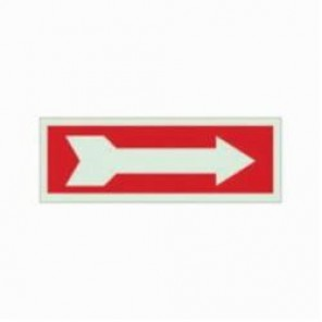 Brady® 90491 Rectangle Exit & Directional Sign, 2-1/2 in H x 7 in W, Red on White, Self-Adhesive Mount, B-324 Glow-In-The-Dark Polyester