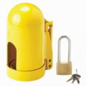 Brady® 90496 Snap Cap® Gas Cylinder Lockout, 6-1/2 in x 3-1/8-11 UN, LOTO-56 Steel, Yellow, For Use With High Pressure Fine Thread Cylinders