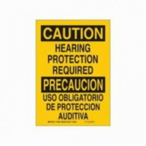 Brady® 90818 Laminated Rectangle Caution Sign, 14 in H x 10 in W, Black on Yellow, Self-Adhesive/Surface Mount, B-302 Polyester