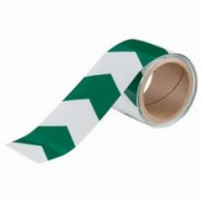 Brady® 90972 BradyGlo® Arrow Tape, 3 in W x 5 yd L, V-Style, Green/Phosphorescent