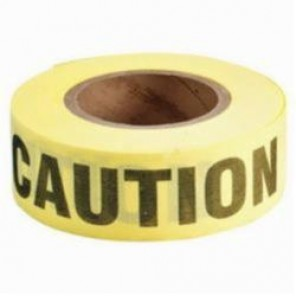Brady® 91083 Re-Pulpable Woven Barricade Tape, CAUTION, 3 in W x 50 yd L, Black on Yellow, Bio-Degradable Cotton