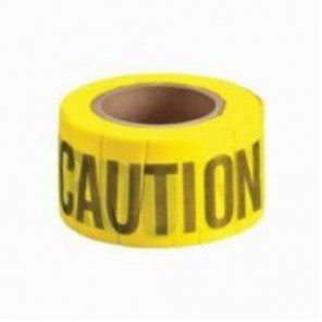 Brady® 91090 Biodegradable Flagging Tape, CAUTION, 3 in W x 50 yd L, Black on Yellow, 69% Wood Fiber