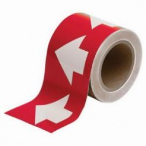 Brady® 91288 Arrow Tape, 30 yd H x 4 in W, 270 Markers per Card, White on Red, B-946 Vinyl