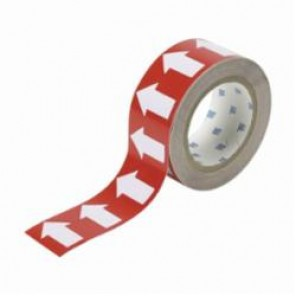 Brady® 91422 Pipe Banding Arrow Tape, 90 ft H x 2 in W, 720 Markers per Card, Red/White, Vinyl