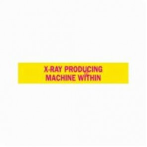 Brady® 93611 Rectangle Radiation Hazard Sign, 1-11/16 in H x 8 in W, Magenta on Yellow, Polycarbonate