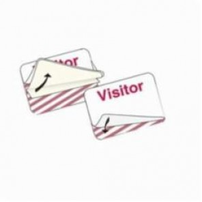 Brady® 95635 SecurAlert® Name Badge, 2 in L x 3 in W x 2 in H, Visitor, Paper