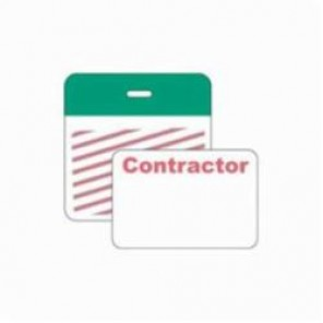 Brady® 95656 SecurAlert® 1-Day Color Card Clip-on Badge, Contractor, 3 in W x 3 in H, Green
