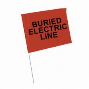 Brady® 98168 Marking Flag With 30 in Steel Rod, 4 in H x 5 in W, Black on Red, Plastic