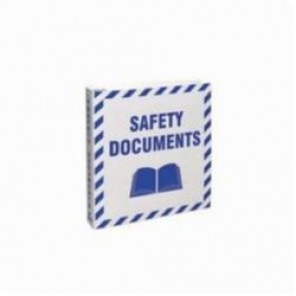 Brady® Prinzing® BR807E Safety Document Binder, SAFETY DOCUMENTS (with book picto), English, Blue on White, 1-1/2 in Ring, 11-5/8 in H