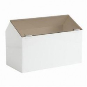 Brady® Prinzing® PD297E Stackable Storage Bin, 12 in L x 12 in W x 18 in H, White/Smoke