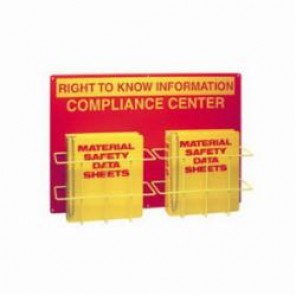 Brady® Prinzing® RK208A Double Right To Know Center, RIGHT TO KNOW INFORMATION COMPLIANCE CENTER, English, Yellow on Red, 20 in H x 29 in W