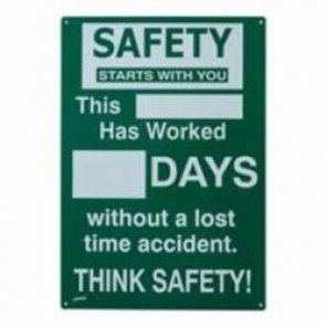 Brady® Prinzing® SM795E Safety Record Sign, 20 in H x 14 in W, White on Green, Polyethylene