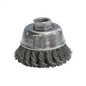 CGW® 60070 High Speed Premium Cup Brush, 2-3/4 in Dia, 5/8-11, 0.02 mm Carbon Twist Knot Wire