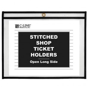 C-Line 49912 Shop Ticket Holders, Stitched, 12 x 9, Clear, 25/Box