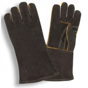 Cordova 7625 Black Shoulder Split Welders Gloves, one piece back, fully lined, welted seams, reinforced palm, sewn with kevlar thread, Men's Large