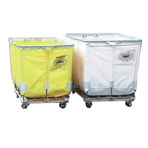 """EXTRA DUTY TRUCK - ALL SWIVEL CASTERS, Caster Configuration: Square, Fabric: Green Glosstex, Bu. Size: 14, Top Size I.D. L x W: 40 x 28"""", Depth: 28"""", Overall Height: 34"""", Caster Size: 3"""""""