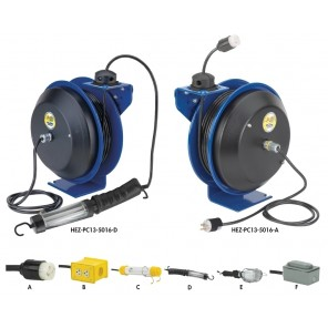 "EZ-COIL® SAFETY SERIES ELECTRIC CORD REELS, Includes Accessory: Quad Industrial Receptacle, AWG.: 12, # of Conductors-Length: 3 - 50', Size W x H x L: 8-1/2 x 14-1/2 x 13-3/4"", Amps: 20"