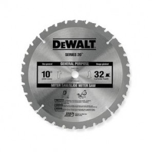 DeWALT® DW3103 General Purpose Large Diameter Circular Saw Blade, 10 in Dia, 5/8 in, 32 ATB Teeth, Carbide Cutting Edge