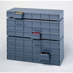 "DRAWER CABINETS, No. of Drawers: 6, Drawer Size W x D x H: 5-3/8 x 11-1/4 x 2-3/4"", Use w/Extra Drawer Divider No.: H010"