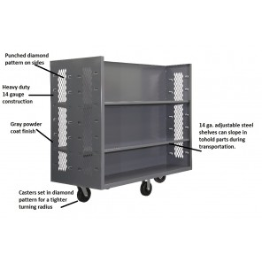 "TILTED SHELF TRUCKS, Size D x W x H: 60 x 30 x 57"", Cap. (lbs.): 2000"
