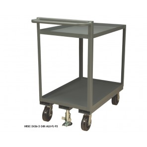 "2 SHELF STOCK TRUCKS w/FLOOR LOCK, Size W x D x H: 36 x 24 x 39"", Cap. (lbs.): 2400"