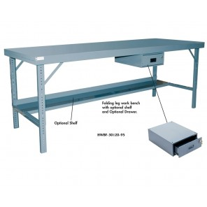 ERGONOMIC WORK BENCHES w/FOLDING LEGS, Top Style : All Steel Top, Size W x D: 60 x 30""