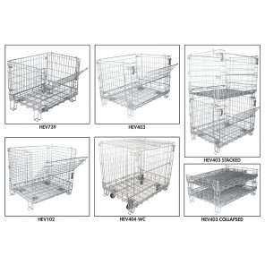 """OPEN FOOT CONTAINER SERIES, Cap. (lbs.): 800, Side Mesh Size: 2-1/2 x 3-1/2"""", Casters Included: Yes"""