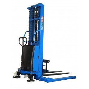 "SEMI-ELECTRIC STACKER, Load Cap. (lbs.): 3300, Raised Height: 118"", Lowered Height: 3.4"", Fork Length: 45"", Mast Height: 70"", Wheel Type: Poly"