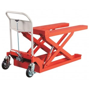 "HLFN FORK TYPE HYDRAULIC LIFT, Load Cap. (lbs.): 1103, Raised Height: 21.1"", Lowered Height: 3.4"", Overall Size L x W x H: 64.2 x 29.5 x 39.4"""