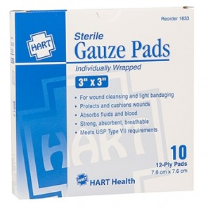 "GAUZE PADS, HART, sterile, individually wrapped, 12-ply, 3"" x 3"", 10 per box 1833"