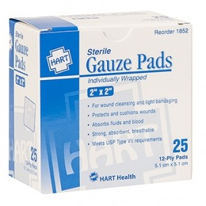 "GAUZE PADS, HART, sterile, individually wrapped, 12-ply, 2"" x 2"", 25 per box 1852"