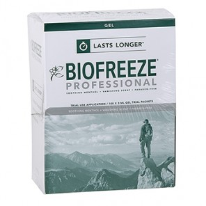 BIOFREEZE Pain Gel, with Ilex, 3 gm packet, 100 packets per box  2424