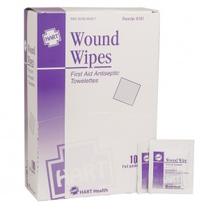 Wound Wipes, HART 6101, Antibacterial Cleansing Wipes - Individually Wrapped, 100 per box