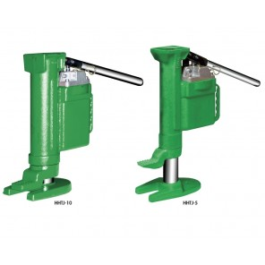 "HYDRAULIC TOE JACKS, Cap. (tons.): 10, Max Lifting Height: 9.0"", Pick-Up Position Height At Base: 1.0"", Pick-Up Position Height At Top: 16.25"", Stress On Lever at Max. Load (lbs.): 90"