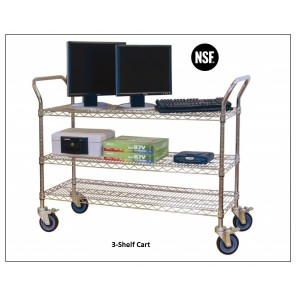 "CHROME WIRE SERVICE CARTS, No. of Shelves: 3, Size D x W: 18 x 48"", Shelf Cap. (lbs.): 500"