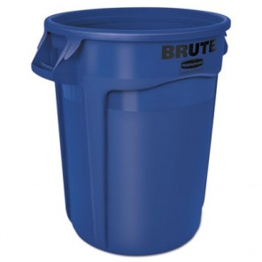 Rubbermaid® 2632BLU Commercial Round Brute Container, Plastic, 32 gal, Blue