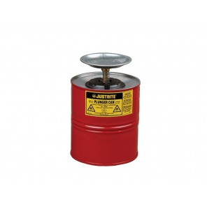 Justrite® 10308 Plunger Dispensing Can, 1 Gallon, Steel, Red, Brass/Ryton® Plunger