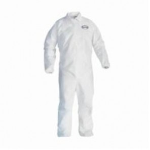 KleenGuard; A40 Liquid and Particle Resistant Disposable Coverall, L, White, Microporous Film Laminate, 25 in Chest