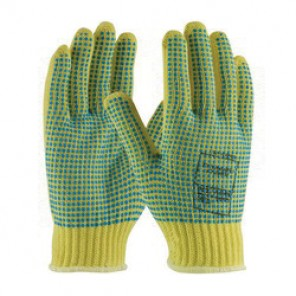 PIP® Kut-Gard® 08-K350PDD Medium Weight Cut-Resistant Gloves, M, Blue/Yellow, Seamless, Kevlar®