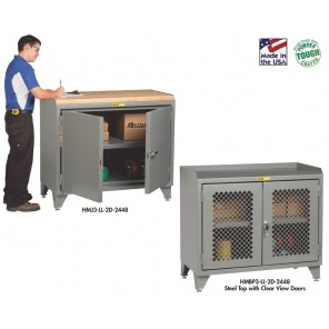 """COUNTER HEIGHT BENCH CABINETS, Door Clear View, Top Surface: 1/4"""" Hardboard"""