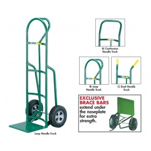 "12""D. REINFORCED NOSE PLATE HAND TRUCK, Handle: B) Loop Handle, Frame Height: 49"", Wheel 10 x 3-1/2"" flat free urethane, Cap. (lbs.): 600"