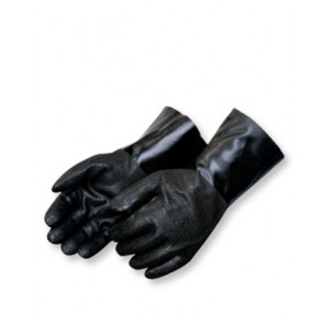 "Liberty I2438 Rough Finish Black 100% PVC Gloves - Jersey Lined, 18"" Gauntlet"