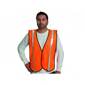 "Fluorescent orange - 1"" silver stripes - Velcro closure - Elastic side strips Safety Vest"