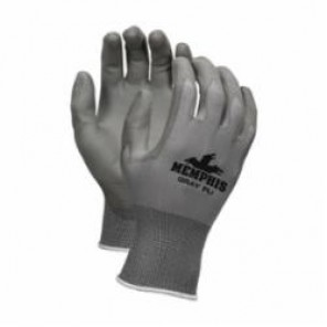 Memphis 9666 Coated Gloves, Polyurethane Palm, Gray, Standard, Nylon