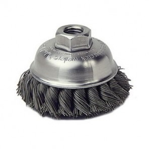 Mighty-Mite™ 13155 Single Row Cup Brush, 3-1/2 in Dia, 1/2-13, 0.023 in Steel Knotted Standard Twist Wire