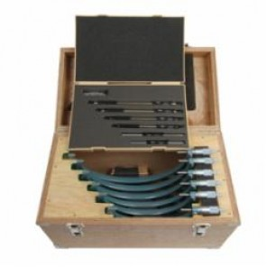 Mitutoyo 103 Imperial Outside Micrometer Set With Standard Bar, 6 Pieces, 6 to 12 in Range, 0.0001 in Resolution