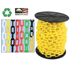 "PLASTIC CHAIN, Black, Chain Size: 2"", Trade Size: #8, Chain Length: 125' Reel"