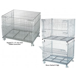 """WIRE CONTAINERS, Cap. (lbs.): 1000, Basket Size W x L x H: 20 x 32 x 16"""", Overall Height: 21-1/2"""", Mesh Pattern: 1 x 1"""", Gate Type: 1/2 drop - full drop side"""