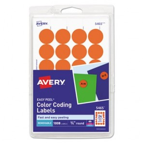 "Avery 5465 Printable Removable Color-Coding Labels, 3/4"" dia, Orange, 1008/Pack"
