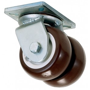 "HEAVY-DUTY DUAL-WHEEL CASTER, Swivel, Dia.: 8"", Width: 6"", Cap. (lbs.): 6000, Type: Paythane, Overall Height: 12-9/16"", W x L: 6-1/2 x 7-1/2"", Top Plate Bolt Hole: 4-1/2 x 6"""
